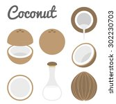 vector coconut icon  | Shutterstock .eps vector #302230703