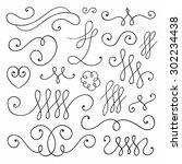 vector hand drawn collection of ... | Shutterstock .eps vector #302234438