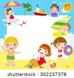 kids at the beach with banner | Shutterstock .eps vector #302237378