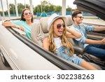 three happy friends in... | Shutterstock . vector #302238263