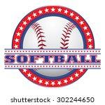 softball design   red white and ... | Shutterstock .eps vector #302244650