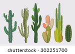 Cactus Collection In Vector...