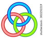 borromean circles vector  logo... | Shutterstock .eps vector #302252219