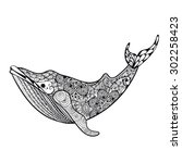 zentangle stylized sea whale.... | Shutterstock .eps vector #302258423