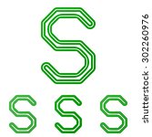 green line s logo design set