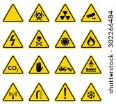 Hazard Sign Set For Biological...