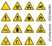 hazard sign set for biological... | Shutterstock .eps vector #302266484