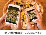 female friends using... | Shutterstock . vector #302267468