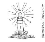 lighthouse | Shutterstock .eps vector #302267879
