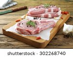 top view raw pork chop steak ... | Shutterstock . vector #302268740