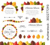 collection of vector autumn... | Shutterstock .eps vector #302277293
