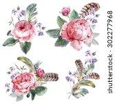 Set Vintage Watercolor Bouquet...