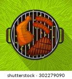 summer bbq with chicken legs ... | Shutterstock .eps vector #302279090