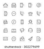 contact us vector icon set in... | Shutterstock .eps vector #302279699
