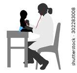pediatrician examining of baby... | Shutterstock .eps vector #302283008