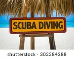 Scuba Diving Sign With Beach...