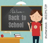 back to school concept   girl... | Shutterstock .eps vector #302291729