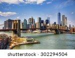 brooklyn bridge and financial... | Shutterstock . vector #302294504