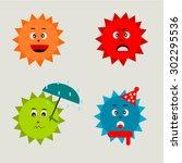 sun of season in emoticon   Shutterstock . vector #302295536