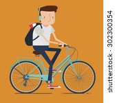 man riding bike. vector... | Shutterstock .eps vector #302300354