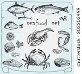 seafood set. hand drawn sketch. | Shutterstock .eps vector #302302499