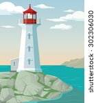 lighthouse. vector flat cartoon ... | Shutterstock .eps vector #302306030