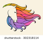 linear stylized horse. colorful ...