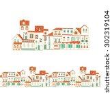 european village | Shutterstock .eps vector #302319104