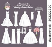 vector wedding dresses in... | Shutterstock .eps vector #302322320