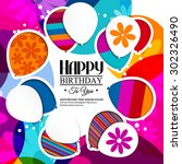 vector birthday card with paper ... | Shutterstock .eps vector #302326490