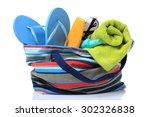 isolate  beach bag  sunscreen ...   Shutterstock . vector #302326838