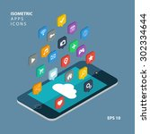 isometric app icons concept....   Shutterstock .eps vector #302334644
