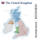 united kingdom administrative... | Shutterstock .eps vector #302343833