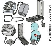 vector set of blood pressure... | Shutterstock .eps vector #302344604