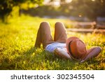 trendy hipster girl relaxing on ... | Shutterstock . vector #302345504