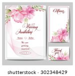 wedding invitation card  with... | Shutterstock .eps vector #302348429
