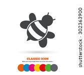 bee sign icon. honeybee or apis ... | Shutterstock .eps vector #302363900