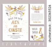 vector set of invitation cards... | Shutterstock .eps vector #302365526