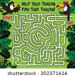 a fun maze for kids where you... | Shutterstock .eps vector #302371616