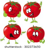 cartoon tomato with many... | Shutterstock .eps vector #302373650