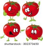 cartoon tomato with many... | Shutterstock .eps vector #302373650