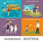 happy parents are teaching... | Shutterstock .eps vector #302373926