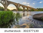 this concrete arch railroad... | Shutterstock . vector #302377130