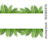 leaves of palm tree on white... | Shutterstock .eps vector #302383370