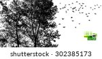 Forest Tree Silhouette With...