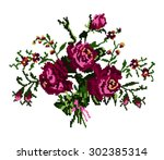 color bouquet of flowers  roses ... | Shutterstock . vector #302385314