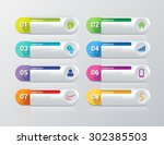 simple multicolor 8 step... | Shutterstock .eps vector #302385503