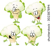cauliflower   funny vector... | Shutterstock .eps vector #302387894