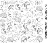school pattern on white... | Shutterstock . vector #302389973