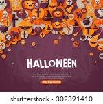 halloween background. vector... | Shutterstock .eps vector #302391410